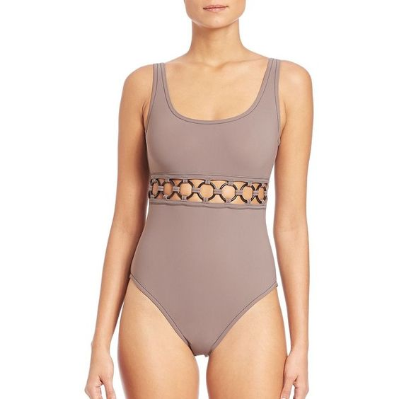 Karla Colletto Swim Ring-Detail One-Piece Swimsuit ($190) ❤ liked on Polyvore featuring swimwear, one-piece swimsuits, apparel & accessories, beige, one piece cutout bathing suit, cut out bathing suit, underwire one piece bathing suits, 1 piece swimsuit and one piece bathing suits