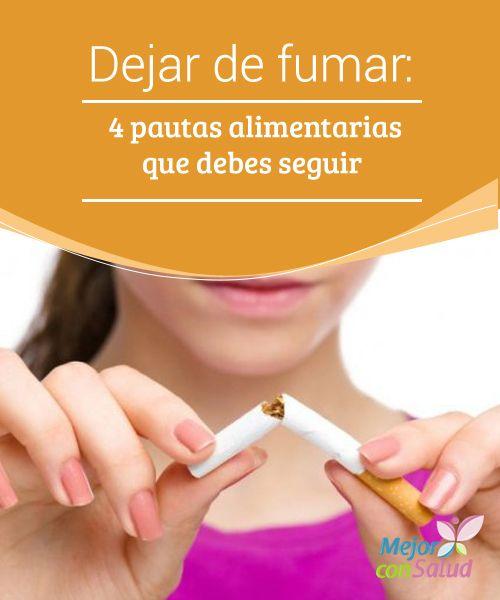 Dejar de fumar: 4 pautas alimentarias que debes seguir  Dejar de fumar es un proceso complejo que cada persona afronta de un modo. Hay quien lo hace de forma progresiva y quien, de un día para otro, deja el tabaco sin volver a tocarlo.