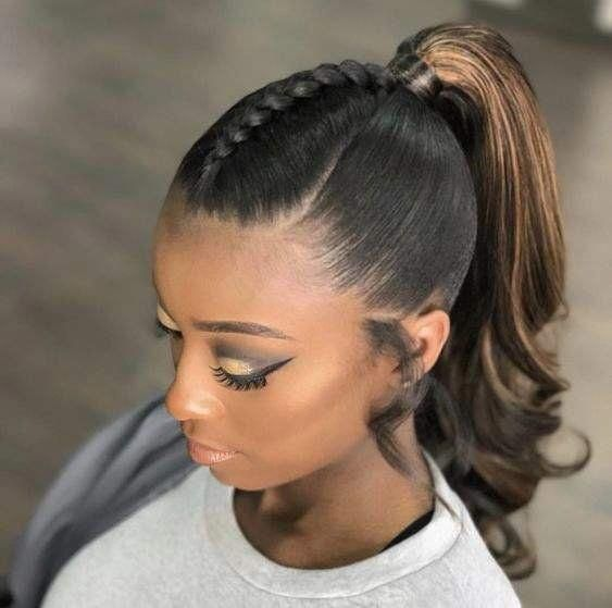 Hairstyle Ideas For Medium Length Hair Sleek Ponytail Easy To Add In Braids Or Curls To This Sty Medium Length Hair Styles Natural Hair Styles Sleek Ponytail