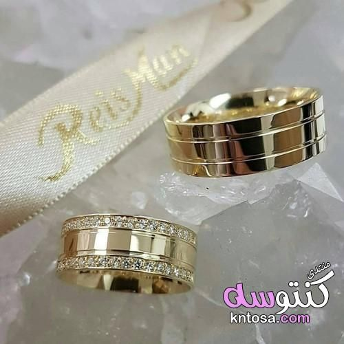 اشكال دبل لازوردى دبل بومبيه كلاسيك دبل ذهب عريضة اشكال دبل مربعه اشكال دبل خطوبة جديدة Kntosa Wedding Rings Unique Engagement Rings Couple Gold Wedding Rings