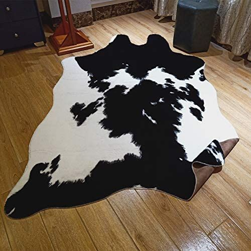 Jaccaws Faux Fur Black And White Cowhide Rug 4 6 X 6 6 Feet Cow Skin Area Rug Large Size 4 6 6 6 Black And White In 2020 White Cowhide Rug Large Area Rugs Large Rugs