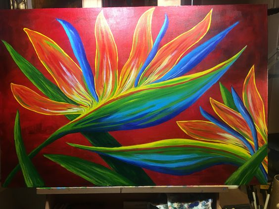 """Andrew Ansaidi painted """"BIRD OF PARADISE 24x36. How beautiful is this painting. Just amazing."""