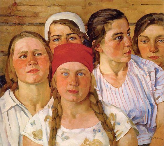 Константин Юон на картине «Комсомолки. Подмосковный молодняк» (1926)
