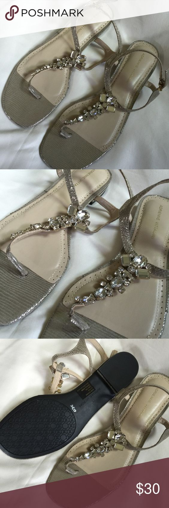NEW ADRIENNE VITTADINI Silver Beaded Sandals Size9 NEW WITHOUT BOX! Never worn in great condition  very cute and stylish with beautiful beading. Adrienne Vittadini Shoes Sandals