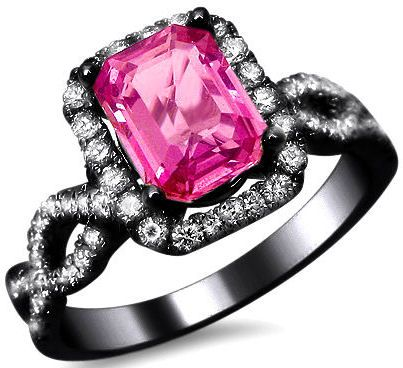 2.05ct Emerald Cut Pink Sapphire Diamond Engagement Ring 18k Black Gold / Front Jewelers... This... Is... What... I... Want!