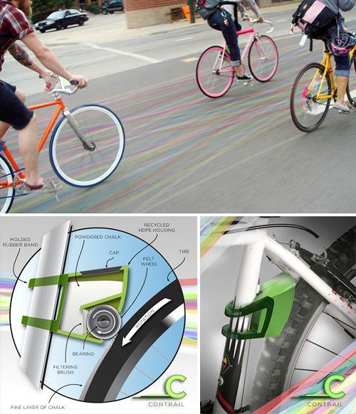 Bike Chalk trails...color the streets as you bike!