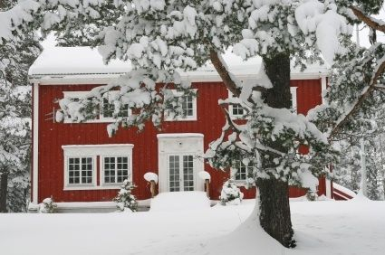 red houses look best in winter