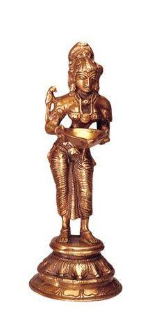 Lakshmi Statue stehend aus Messing - 14 cm