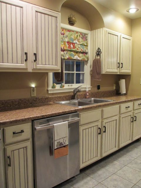House tours colors and hardware on pinterest for Beadboard kitchen cabinets
