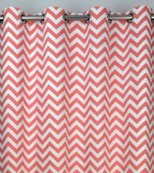 Curtains Ideas coral chevron shower curtain : Amazon.com: Coral and White Chevron Zig Zag Drapes with Blackout ...