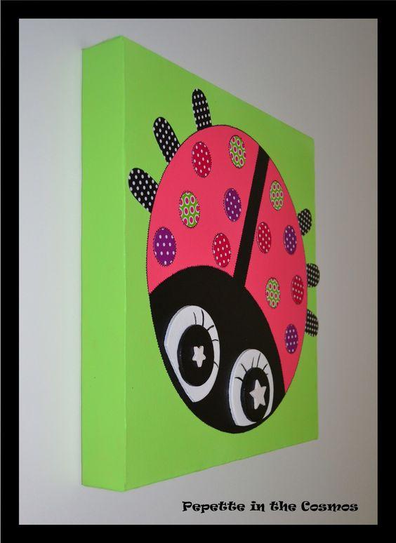 tableau coccinelle cadeau de naissance tableau b b tableau enfant d coration chambre b b. Black Bedroom Furniture Sets. Home Design Ideas