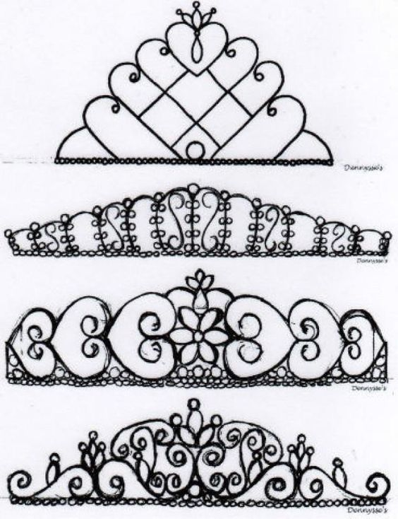 chocolate lace template - a lot of different tiara designs for royal icing tiaras