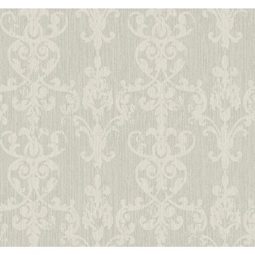 Weatherby Woods Silver Glitter and Dove Gray Distressed Damask Scroll Wallpaper