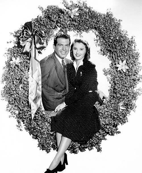 Fred MacMurray and Barbara Stanwyck in a promotional still for Remember the Night, 1940.: