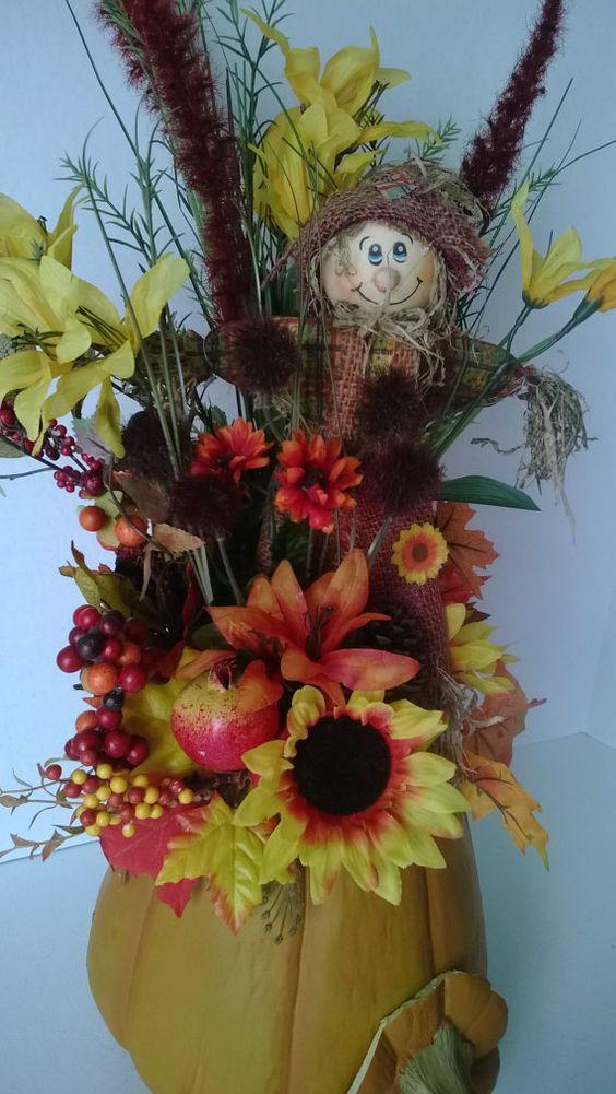 Pumpkin Scarecrow Sunflower Autumn Silk by SilkFloralBoutique