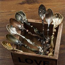 6 teile/satz Dinerware sets vintage löffel retro-palast metall kaffeelöffel königlichen stil geschnitzte rühren löffel für eis kaffee