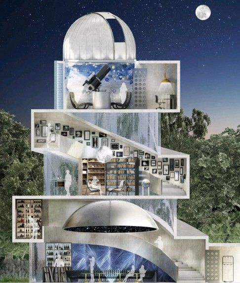 The three-level dome-structured observatory features a home cinema, a planetarium, a karaoke bar, a library and a lounge to enjoy cigars with the observatory roof and glazed roof open.