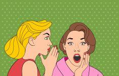 Rétro femme whispering un gossip vector art illustration