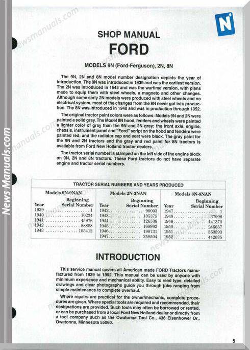 Ford 9n 2n 8n Shop Manual Manual Ford Electrical Diagram
