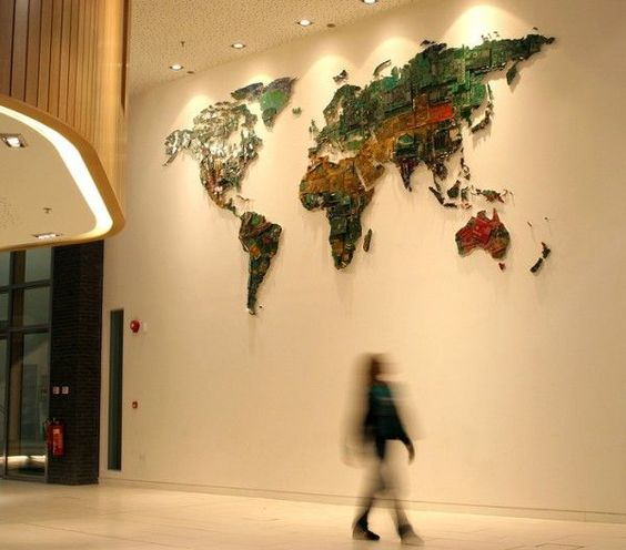 Giant World Map Made From Recycled Computer Components