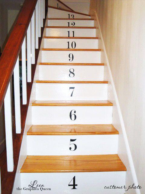 Num ro d escalier stickers muraux lot de 17 stickers vinyle avec couleur 45 - Stickers pour escalier ...