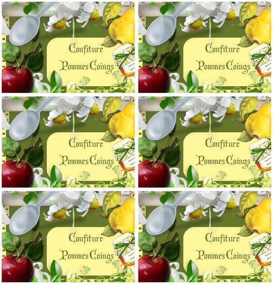 Etiquettes pour confiture pommes coings - Carterie Bilitis