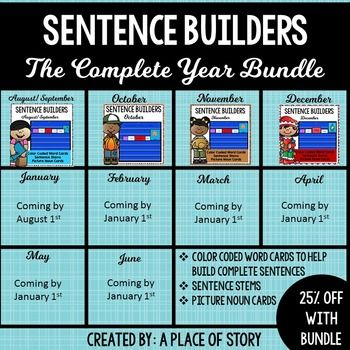 Sentence Builders- A pocket chart center with color coded cards to help kids build complete sentences. Themed for the whole year!
