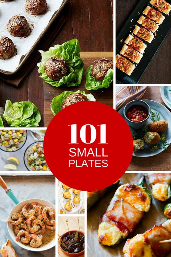The master list from Dish-y.com: 101 Small Plate Ideas to Make at Home. MealBoard files are included for download to make it easy to get these tapas and small plate recipes into your menu lineup. Try small plates for a swanky at-home date night! These recipes also do well as party food.