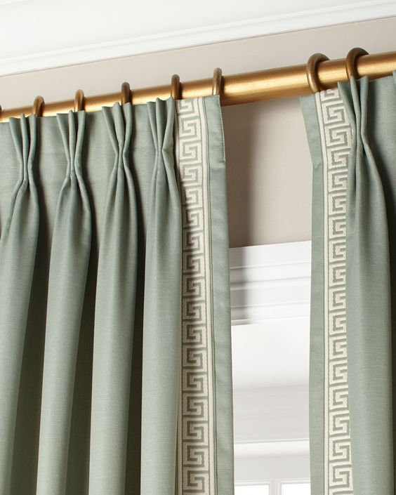 Triple Pinch Pleat Drapery Panels With A Greek Key Leading Edge