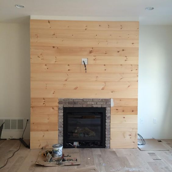 Shiplap fireplace fireplace wall and fireplaces on pinterest for Diy rock wall fireplace