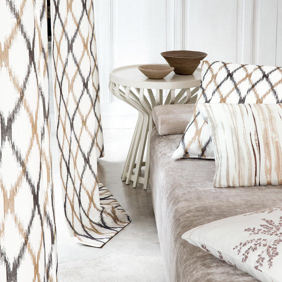 Cinnamon, Cream, Grey and Gold Curtains, Cushions and Sofa ...