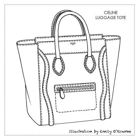 celine trapeze bag for sale - CELINE - LUGGAGE TOTE - Designer Handbag Illustration / Sketch ...
