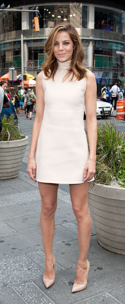 Michelle Monaghan looked sleek in a nude dress and heels.