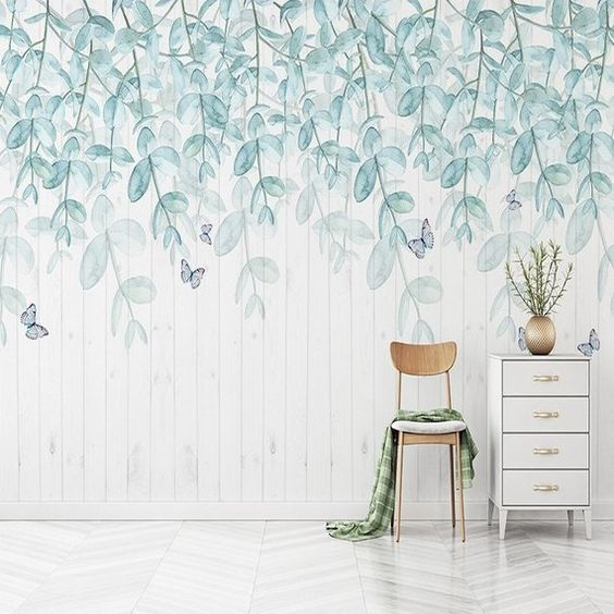 Watercolor Mint Leaves Wallpaper Wall Mural, Hanging Leaf Branch Wall Decal, Fresh Spring Elegant Wall Sticker Wall Murals