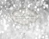 6ft x 5ft Silver Bokeh GLITTER HOLIDAY Vinyl Backdrop / Custom Photo Prop