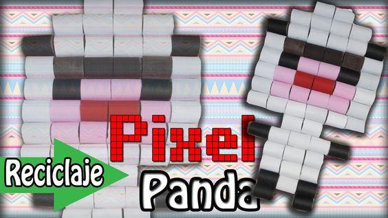 Panda-PIXEL! de tubos de papel ((Decora tu recamara)) //Eco-geek//