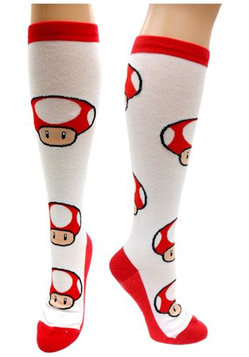 Nintendo Red Mushroom Knee High Socks #Mario #Gift