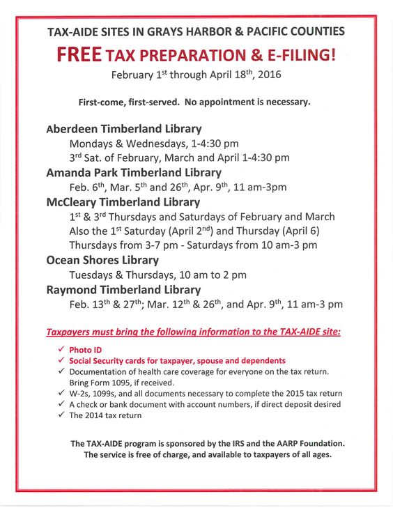 Free TaxAide Sites For Grays Harbor And Pacific Counties