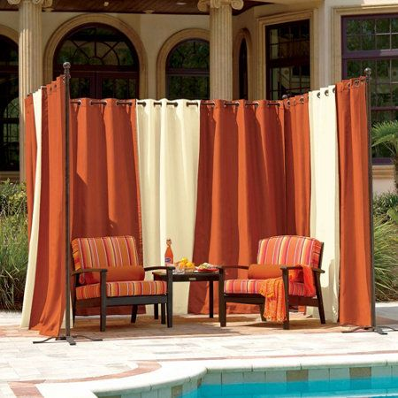 Outdoor Curtain Rod with Post Set   Posts, Curtain fabric and The ...