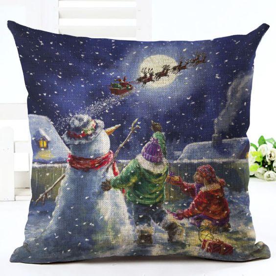 Merry Christmas Home Decor Square Throw Pillow Case Cushion Cover Cotton Linen   Casa y jardín, Decoración para interiores, Almohadas   eBay!