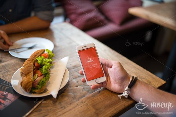 Free PSD Mockup iPhone 6 Breakfast on Behance