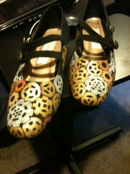 Hand painted steam punk shoes