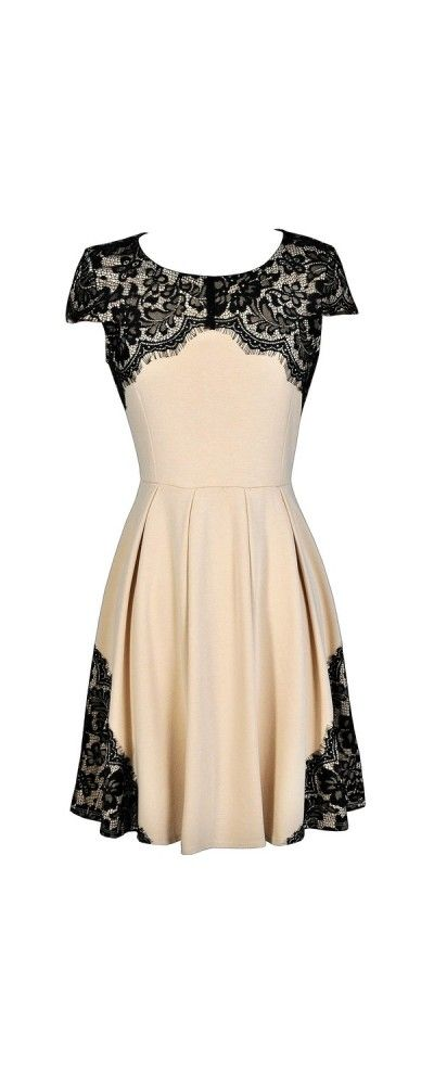 Trimmed In Lace Beige and Black A-Line Dress  www.lilyboutique.com