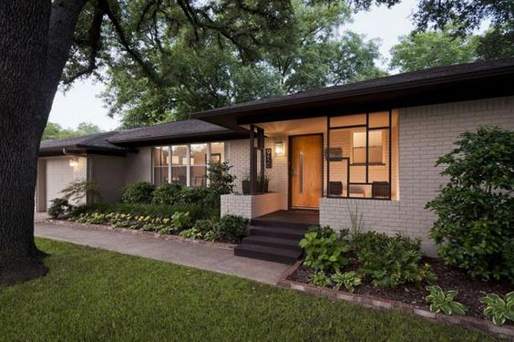 I am seeing a lot of 1960s ranches lately that have interesting Midcentury Modern details. They have tons of charm and contemporary character, but none of the flat roofs and linear exterior details that we'd expect from a true Mid-Mod.  This house,