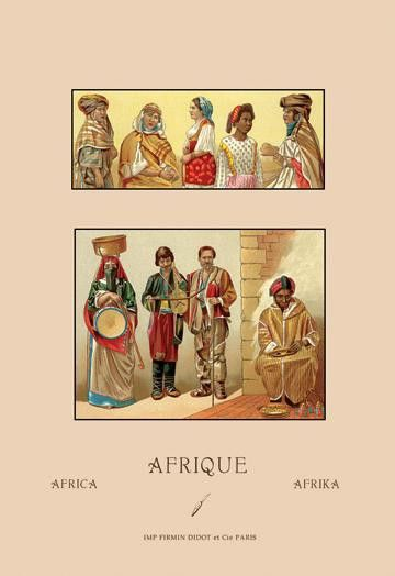 A Variety of African Costumes #2 24x36 Giclee
