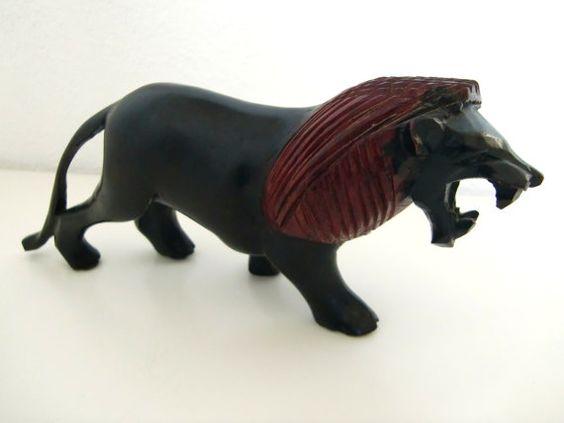 Vintage Hand Carved Wooden African Figurine, Lion