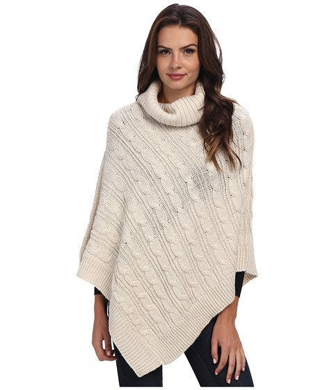 Steve Madden Lurex Cable Knit Cowl-Neck Poncho Cream - Zappos.com