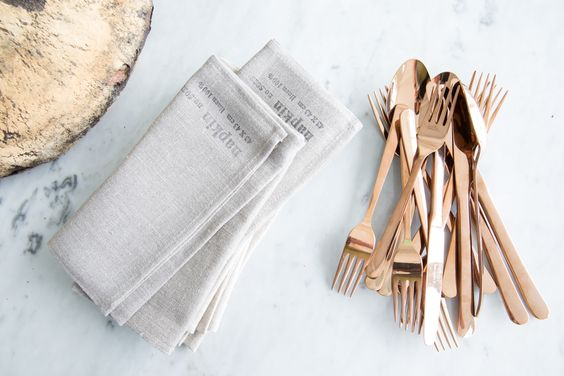 """""""Copper flatware is unexpected and really beautiful. Sometimes these little details can become talking points for your guests."""" –Karen Mordechai, Sunday Suppers. See video at dwr.com/knowhow #dwrknowhow"""