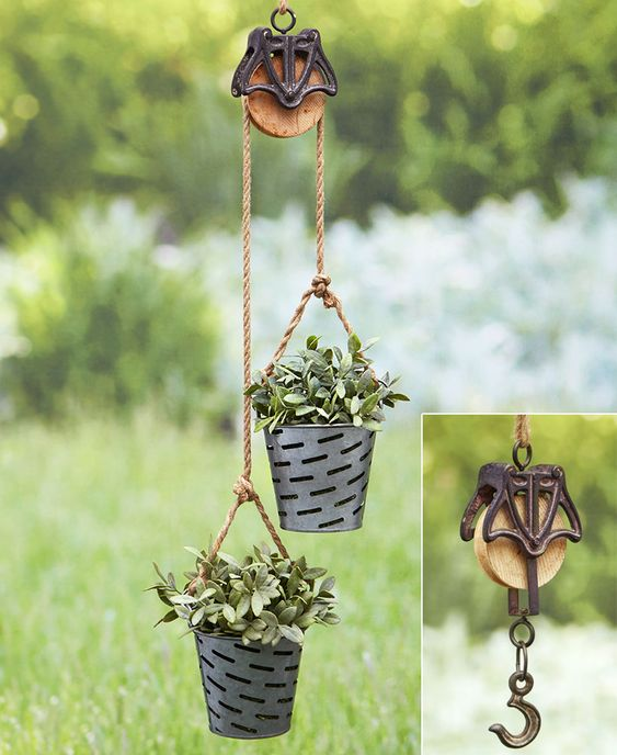 Rustic Pulley Planter or Hanger | LTD Commodities