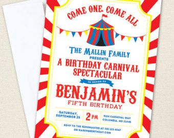 Carnival or Circus Invitations - Professionally printed - Printable file also available